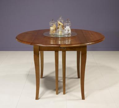 Table ronde à volets DIAMETRE 110 réalisée en Merisier massif de style Louis Philippe 7 allonges de 40 cm